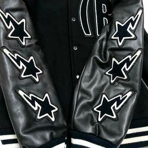 Vintage Bape Football Leather Varsity Jacket